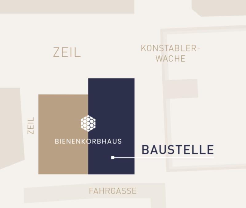 Baustelle Bienenkorbhaus Frankfurt Lage